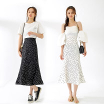 skirt Spring 2021 S,M,L Black, white commute High waist A-line skirt Dot Type A 18-24 years old other Other / other Ruffles, zippers, polka dots Korean version