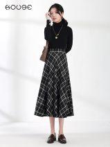 skirt Winter 2020 XS 1'9, s 2's, M 2'1, L 2'2, XL 2'3, 2XL 2'4 black Mid length dress commute High waist Umbrella skirt lattice Type A 18-24 years old G3628 More than 95% Wool Other / other polyester fiber zipper Retro
