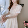 Dress Summer 2021 white S,M,L,XL,2XL Mid length dress singleton  Short sleeve commute square neck High waist Solid color zipper A-line skirt routine Others 18-24 years old Type A Korean version 91% (inclusive) - 95% (inclusive) Chiffon other