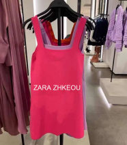 Dress Summer 2021 Rose, purple, orange S,M,L Short skirt singleton  Sleeveless commute One word collar Loose waist Solid color Socket A-line skirt routine camisole 18-24 years old Type A 71% (inclusive) - 80% (inclusive) knitting polyester fiber