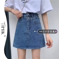 skirt Summer 2021 S M L XS blue Short skirt commute High waist A-line skirt Solid color Type A 18-24 years old More than 95% tIHIk other Korean version Other 100%