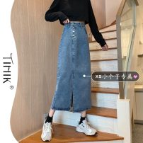 skirt Summer 2021 S L M XS Light blue and dark grey Mid length dress commute High waist Denim skirt Type A 18-24 years old More than 95% tIHIk other Korean version Other 100%