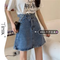 skirt Summer 2021 S M L XS Light blue dark blue Short skirt commute High waist A-line skirt Solid color Type A 18-24 years old More than 95% tIHIk other Korean version Other 100%