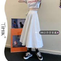 skirt Summer 2021 XS S M White black Mid length dress commute High waist A-line skirt Solid color Type A 18-24 years old More than 95% tIHIk other Korean version Other 100%