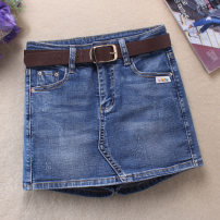 Jeans Summer 2021 blue XS,S,M,L,XL,2XL,3XL shorts High waist routine 18-24 years old Make old, wash and whiten Cotton elastic denim light colour Ocnltiy 96% and above