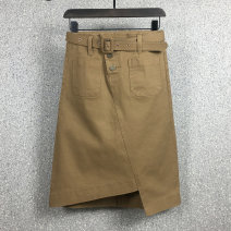 skirt Spring 2021 S,M,L,XL,2XL Brown, khaki, black longuette commute High waist Irregular Solid color Type A Denim Other / other cotton Zippers, pockets, buttons Korean version