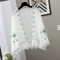 Lace / Chiffon Summer 2021 Black flowers on a white background, green flowers on a white background, white flowers on a blue background, white flowers on a black background, red sunflowers, black sunflowers Average size Long sleeves Versatile Cardigan singleton  easy Regular V-neck other Ocnltiy