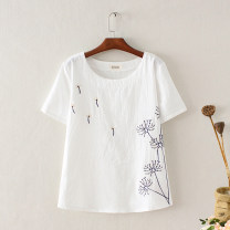 T-shirt Dandelion, small flower, bamboo leaf, embroidery, collar, tree, ink lotus, sika deer, seagull house, lotus, red dragonfly, button embroidery, peony, horn, bamboo, rose, square flower S,M,L,XL,2XL,3XL Summer 2021 Short sleeve Crew neck easy Regular routine commute cotton 96% and above Ocnltiy