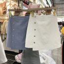 skirt Summer 2021 S,M,L,XL Blue, white Short skirt commute High waist Irregular Solid color Type A 18-24 years old More than 95% Denim Ocnltiy other