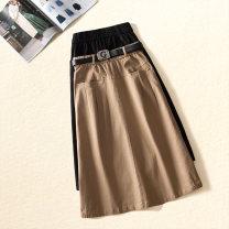 skirt Summer 2021 26/S,27/M,28/L,29/XL,30/2XL,31/3XL Black, Khaki longuette commute High waist A-line skirt Solid color Type A 25-29 years old More than 95% other Ocnltiy cotton Bandage, pocket Korean version