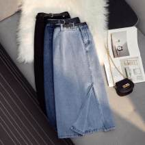 skirt Spring 2021 S,M,L,XL Black [with belt], dark blue [with belt], light blue [with belt] longuette Versatile High waist A-line skirt Solid color Type A More than 95% Ocnltiy cotton