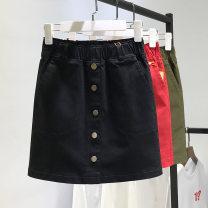 skirt Summer 2021 S,M,L,XL,2XL Red, black, green, apricot, white, dark gray stripe Short skirt commute skirt Solid color Type A Denim Ocnltiy cotton Pocket, button, thread, stitching Korean version