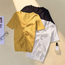 Women's large Summer 2021 White, black, yellow, purple 2XL 130-150 Jin, 3XL 150-170 Jin, 4XL 170-200 Jin, XL 100-130 Jin Knitwear / cardigan singleton  commute easy moderate Socket Short sleeve Solid color Korean version V-neck routine Acrylic, cotton Three dimensional cutting routine Ocnltiy
