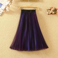 skirt Summer 2021 One size fits all (elastic waist) longuette commute High waist Pleated skirt Solid color Type A Ocnltiy Korean version