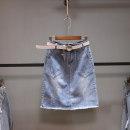 skirt Summer 2021 25,26,27,28,29,30 wathet Middle-skirt Versatile High waist A-line skirt Solid color Type A 25-29 years old Denim Ocnltiy cotton tassels