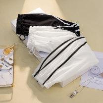 Women's large Summer 2021 White, black trousers singleton  commute easy thin Korean version Three dimensional cutting Ocnltiy Gauze Ninth pants