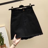skirt Summer 2021 S,M,L,XL,2XL,3XL,4XL,5XL Light blue, white, black Short skirt commute High waist Denim skirt Solid color Type A 18-24 years old 71% (inclusive) - 80% (inclusive) Denim Ocnltiy cotton Korean version