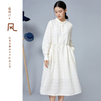 Dress Spring 2021 White moon 31 S M L Mid length dress Two piece set Long sleeves Sweet Polo collar Loose waist Solid color Socket A-line skirt routine 25-29 years old Type A Sand wind between fingers Pocket tie F2115026 51% (inclusive) - 70% (inclusive) hemp Mori Pure e-commerce (online only)