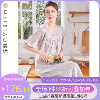 Nightdress American Standard 97837 light grey (printed satin fabric) 160(M) 165(L) 170(XL) 175(XXL) Sweet Short sleeve Leisure home longuette summer Plants and flowers youth V-neck cotton printing More than 95% satin-like cotton fabric Summer 2021 Cotton 100%