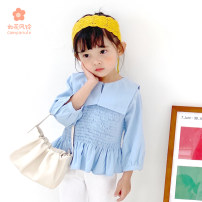 shirt Light blue, white Other / other female 120cm,110cm,100cm,90cm,80cm spring and autumn Long sleeves Korean version Solid color other Lapel crew neck Other 100%