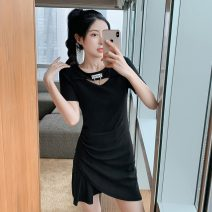 Women's large Summer 2021 black L XL S M Dress singleton  commute Socket Short sleeve Solid color Korean version Crew neck have cash less than that is registered in the accounts other routine Polygonatum 18-24 years old 96% and above Short skirt Other 100% Pure e-commerce (online only)