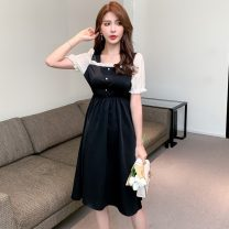 Women's large Summer 2021 Green black S M L XL Dress Two piece set commute Short sleeve Solid color Korean version square neck Medium length routine Polygonatum 18-24 years old Medium length Other 100% Pure e-commerce (online only) other