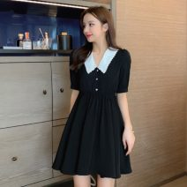 Women's large Summer 2021 black L XL S M 2XL Dress singleton  commute Short sleeve Solid color Korean version Polo collar Medium length other routine Polygonatum 18-24 years old Button 96% and above Middle-skirt Other 100% Pure e-commerce (online only)