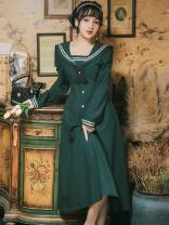 Dress Summer 2021 Retro Green S,M,L,XL longuette Long sleeves Sweet Admiral High waist Solid color routine Others Type A GD725-2023 college