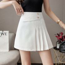 skirt Summer 2021 S M L XL White black Short skirt Versatile High waist A-line skirt Solid color Type A 25-29 years old 8195# More than 95% other SHMO other fold Other 100% 121g / m ^ 2 (including) - 140g / m ^ 2 (including)