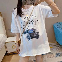 T-shirt White black S M L XL Spring 2021 Short sleeve Crew neck easy Medium length routine commute other 96% and above 18-24 years old Korean version youth Animal design SHMO W21QQ0007 printing Other 100% Pure e-commerce (online only)