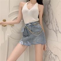 skirt Spring 2021 S M L Black grey blue Short skirt commute High waist Denim skirt Type H 18-24 years old More than 95% Denim SHMO other Korean version Other 100%