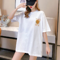 T-shirt White black M L XL 2XL 3XL 4XL 5XL Summer 2021 Short sleeve Crew neck easy Medium length routine commute other 96% and above 18-24 years old Korean version originality SHMO printing Other 100%