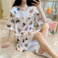 Nightdress Other / other Green, white, pink M,L,XL,XXL Sweet Short sleeve Leisure home Middle-skirt summer Cartoon animation youth Small lapel cotton printing More than 95% pure cotton