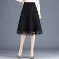 skirt Spring 2021 M,L,XL,2XL,3XL,4XL black Mid length dress commute High waist A-line skirt Solid color Type A 25-29 years old AAHU 0009 91% (inclusive) - 95% (inclusive) Lace Other / other polyester fiber bow lady 161g / m ^ 2 (including) - 180g / m ^ 2 (including)