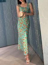Dress Spring 2021 Light green S,M,L Middle-skirt singleton  Short sleeve Sweet V-neck High waist Broken flowers zipper A-line skirt camisole Splicing 81% (inclusive) - 90% (inclusive) Silk and satin silk