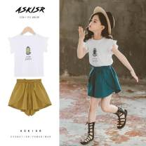 suit Other / other Yellow, blue 110cm,120cm,130cm,140cm,150cm,160cm female summer leisure time Short sleeve + pants 2 pieces routine There are models in the real shooting Socket nothing Solid color cotton elder Expression of love Class B Three, four, five, six, seven, eight, nine, ten, eleven