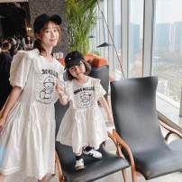 Parent child fashion White, pink Women's dress female Other / other 90cm, 100cm, 110cm, 120cm, 130cm, 140cm, mom's average size currency summer Original design Cartoon characters skirt cotton Class A 2, 3, 4, 5, 6, 7, 8, 9, 10 years old Chinese Mainland
