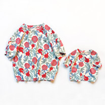 Parent child fashion Pomegranate drop sleeve Women's dress Female, male, neutral Other / other summer Korean version routine other Finished T-shirt Cotton blended fabric QZ1904051 18 months, 2 years old, 3 years old, 4 years old, 5 years old, 6 years old