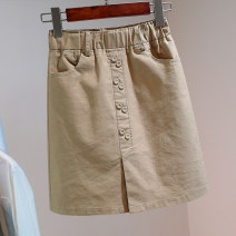 skirt Summer 2021 S,M,L,XL White, black, khaki Short skirt commute High waist skirt Solid color Type A 5—20 Denim Ocnltiy Pockets, buttons, stitching Korean version