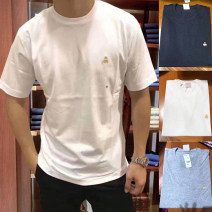 T-shirt Fashion City White, light gray, Navy, black routine S (100-130 kg), m (130-160 kg), l (160-180 kg), XL (180-210 kg), XXL (above 210 kg) Brooks brothers Short sleeve Crew neck standard daily summer