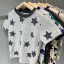 T-shirt Beige shark, light gray white star, dinosaur, dark gray edge star, pink edge star, Navy edge star, green camouflage, orange dinosaur, 1,2,3,4,5,6,7,8,9,10,11,12,13,14 Other / other The recommended height is 90 for 3T, 100 for 4T, 110 for 5T, 120 for 6T and 130 for 7T neutral summer cotton