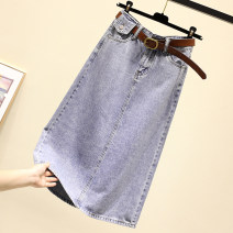 skirt Summer 2021 S,M,L,XL blue Mid length dress commute High waist A-line skirt Solid color Type A 18-24 years old More than 95% Denim Ocnltiy cotton Pockets, buttons, stitching Korean version