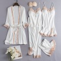 Pajamas / housewear set female Other / other M,L,XL,XXL Polyester (polyester) Long sleeves sexy pajamas summer Thin money V-neck Solid color trousers youth rubber string More than 95% silk lace F84223 Middle-skirt