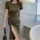 Dress Other 100% High waist Pure e-commerce (online sales only) Summer 2021 Medium length skirt Short sleeve singleton  Crew neck 18-24 years old More than 95% other 05001 other Jiao duoxuan S M L