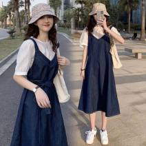 Dress Other / other Top + strap skirt M. L, XL, XXL, XXXL, large 4XL Korean version Short sleeve Medium length summer Crew neck Solid color Denim G33274