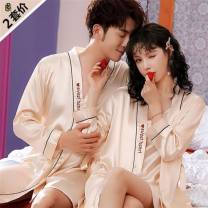 Pajamas / housewear set lovers Other / other Iced silk Long sleeve sexy spring pajamas Thin V-neck other youth double-breasted trousers 2 pieces silk More than 95% Embroidery 200g and below Short skirt