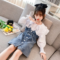 Dress Denim skirt, denim skirt + 899 shirt, denim skirt + Short Sleeve T-shirt, denim skirt + 270 shirt female the post-00s generation 110cm,120cm,130cm,140cm,150cm,160cm,170cm Other 100% spring Korean version Long sleeves Solid color other A-line skirt QYYBQ906 Class B Chinese Mainland