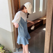 Dress Mori Patchwork lace Summer 2021 Medium length skirt Short sleeve Sweet singleton  Crew neck Solid color High waist Condom 18-24 years old puff sleeve A-line skirt More than 95% polyester fiber Polyester 100% Type A YY123A6520 Other Youyi (clothing) Pure e-commerce (online sales only) other