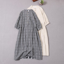 Dress Summer 2020 Beige, black and white, coffee beige, black and white large grid, blue stripe Average size Mid length dress singleton  elbow sleeve Sweet stand collar Loose waist lattice Socket A-line skirt Type A More than 95% cotton solar system