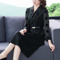Dress Autumn 2020 Red, black L,XL,2XL,3XL,4XL,5XL Miniskirt singleton  Long sleeves commute other routine Type A